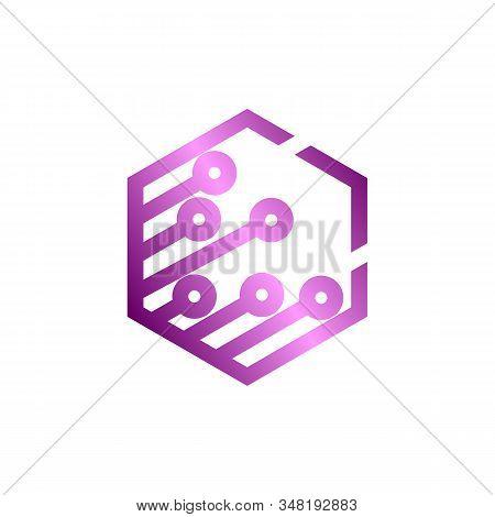 Circuit Logo Design Vector Template, Circular Logo Icon, Link Icon With Dot, Circuit Element, Creati