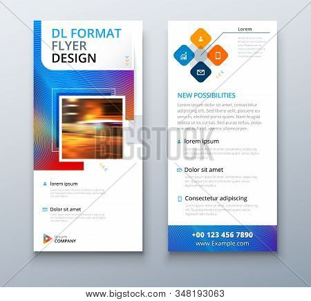 Liquid Color Dl Flyer Design With Square Shapes, Corporate Business Template For Dl Flyer. Creative