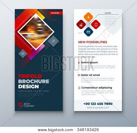 Dark Red Dl Flyer Design With Square Shapes, Corporate Business Template For Dl Flyer. Creative Conc