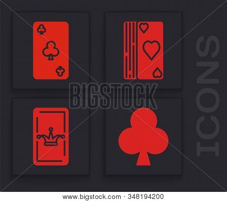 Set Playing Card With Clubs Symbol, Playing Card With Clubs Symbol, Deck Of Playing Cards And Joker