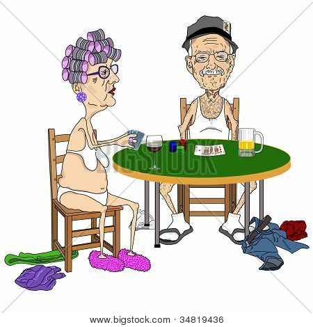 Senior Couple Playing Strip Poker