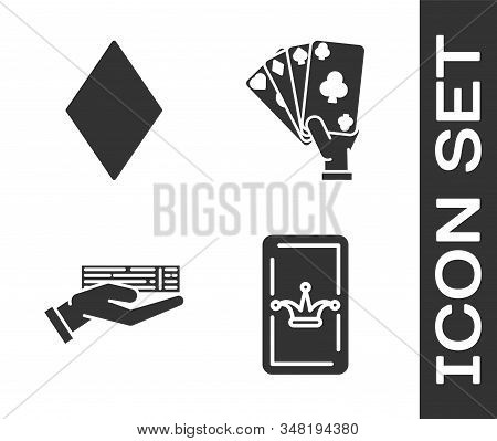 Set Joker Playing Card, Playing Card With Diamonds Symbol, Hand Holding Deck Of Playing Cards And Ha