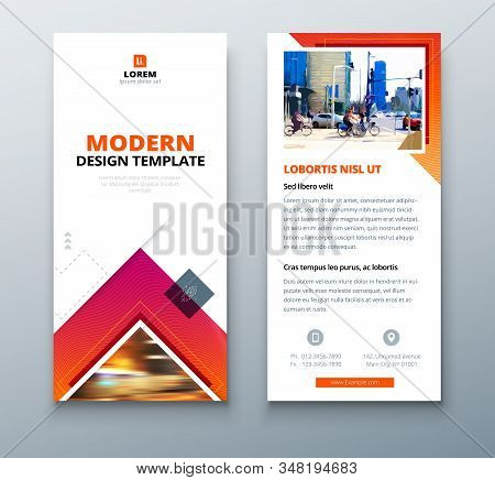 Red Dl Flyer Design With Square Shapes, Corporate Business Template For Dl Flyer. Creative Concept F