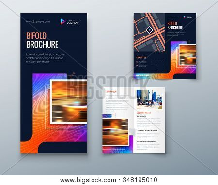 Bifold Brochure Design With Square Shapes, Corporate Business Template For Bifold Flyer. Creative Co