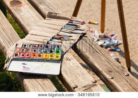 Set Of Professional Art Supplies Outside In Sunny Day