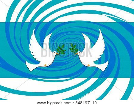 Hand Drawn Pair Of White Easter Doves Holding Branch Over Textured Blue And Turquoise Swirl Panel