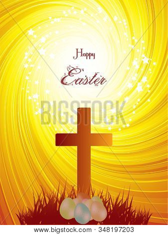 Easter Religious Abstract Yellow Swirl Background With Cross Easter Eggs Grass Silhouette And Happy