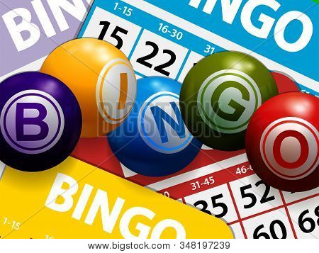 3d Illustration Of Bingo Balls Stating The Word Bingo Over Multicolored Bingo Cards Background