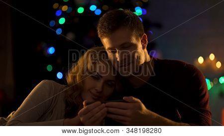 Beautiful Couple Watching Video On Smartphone Under Christmas Tree, Intimacy