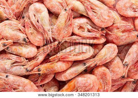 Frozen Boiled Wild Red Deep-sea Shrimps As Background. Shrimps Background Texture.