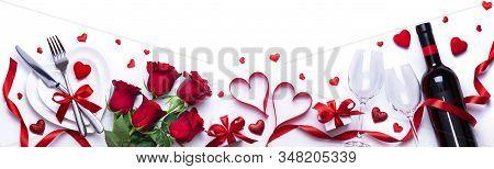 Valentine, Dinner, Rose, Ribbon, Love, Romance, Wine, Gift, Celebration, Flower, Glasses, Table, For