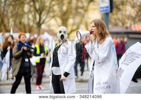 Vilnius, Lithuania - April 1, 2017: People Participating In Physicists Day (fidi), A Humorous Event