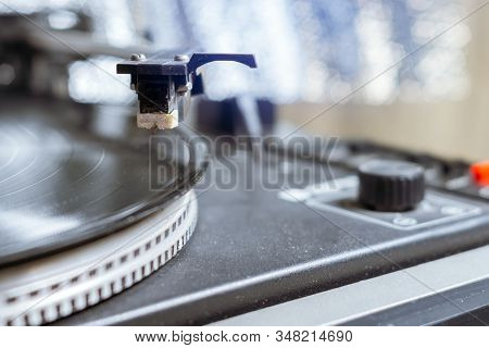 Retro-styled Record Player Spinning Vinyl. Close Up. Selective Focus, Retro Style