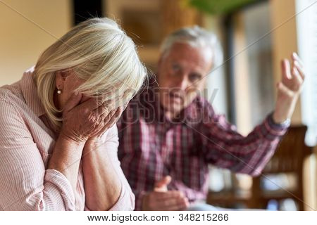 Senior argues with his frustrated wife about divorce and separation