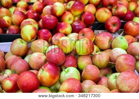 Organic Red Ripe Delicious Apples On A Counter Of Farmers Market. Healthy Food Wallpaper. Natural Ba
