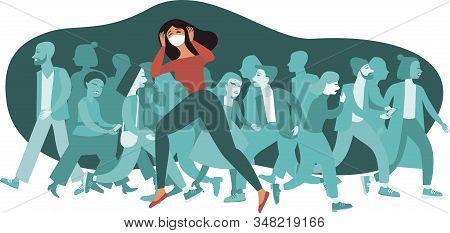 Woman Wearing Protective Medical Mask crowd Of People On Background 2019-ncov Coronaviruspandemia