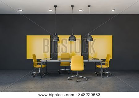 Yellow And Gray Meeting Room Interior