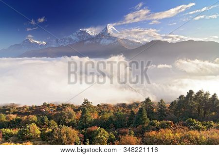 Nepal, Ghorepani, Poon Hill, Dhaulagiri Massif, Himalaya, Annapurna South And Annapurna I, View From