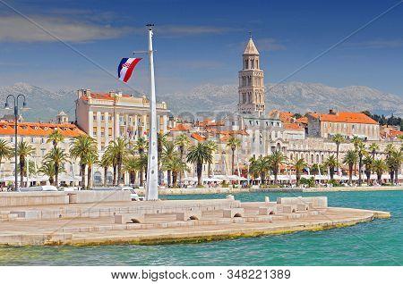 Riva Promenade, Bell Tower, Italian And British Embassy And Consulates In Split Croatia.