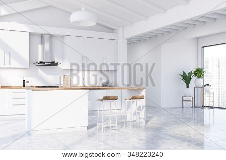Attic White Kitchen Corner With Bar And Plants