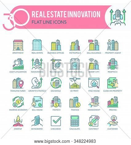 Set Of Filled Outline Multicolor Icons On Following Topics - Real Estate, Property, Real Estate Inno