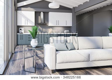 Attic Gray Living Room And Kitchen Corner