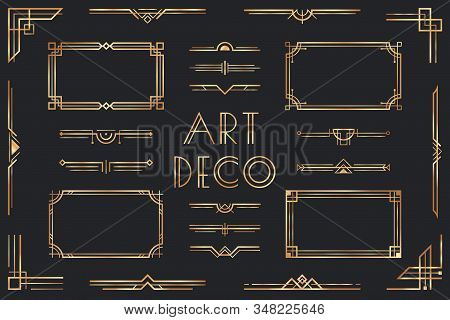 Golden Art Deco Elements. Ornamental Frame, Retro 1920s Divider Border And Decorative Gold Corner Ve