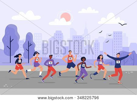 City Marathon. People Running Together, Athletic Training And Sport Marathons Runners Vector Illustr
