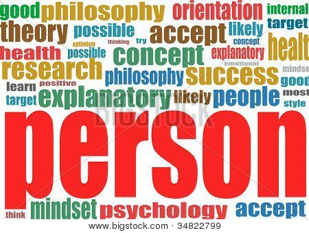 Person. Word collage background. Illustration with different association terms. poster