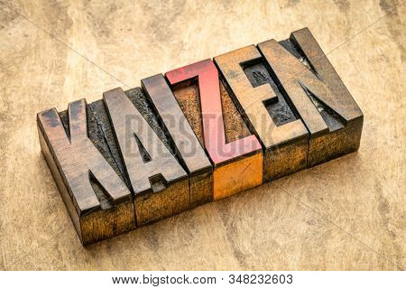 Kaizen - Japanese continuous improvement and a change for better concept - word abstract in vintage letterpress wood type