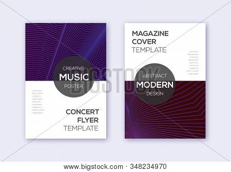 Modern Cover Design Template Set. Violet Abstract Lines On Maroon Background. Exquisite Cover Design