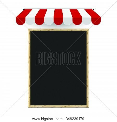Restaurant, Cafe Menu Board Vertical Template. Realistic Vector Chalkboard And Striped 3d Awning. Pi