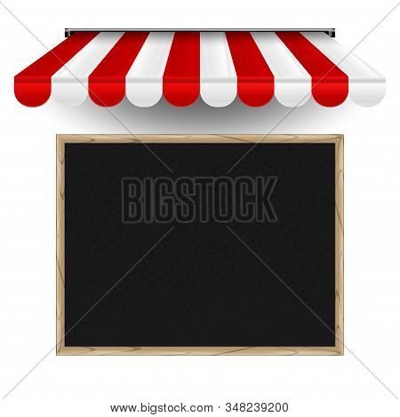 Restaurant, Cafe Menu Board Horizontal Template. Realistic Vector Chalkboard And Striped 3d Awning.