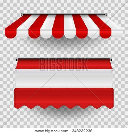 Set Of Commercial Vector Awnings. Market, Cafe, Or Restaurant Desing Elements. Red And White Striped
