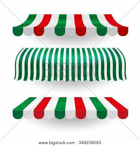 Italian Food Canopy Awning Set In The Colors Of The Italian Flag. Vector Overhang Set. Isolated Obje