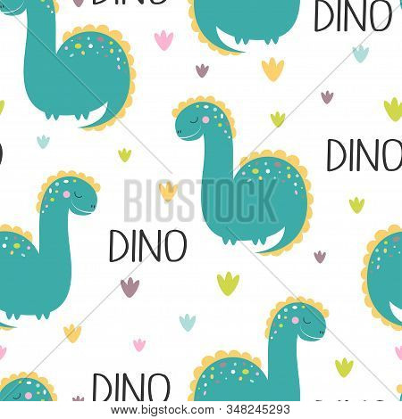 Cute Seamless Pattern Of Dinosaur With Lettering Dino And Plants On White Background, Cool Brachiosa