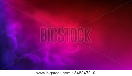 Colored Smoke. Realistic Fog In Neon Light. Splashes Of Purple, Blue And Pink Colors On Foggy Abstra