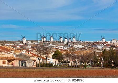 Old Spanish Windmills View, Campo De Criptana