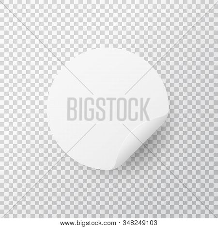White Circle Sticker On Transparent Background. Realistic Round Sticker With Folded Edge. Paper Labe