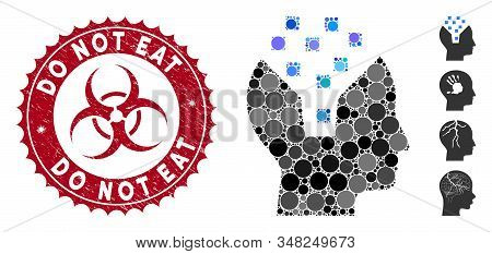 Collage Human Memory Icon And Grunge Stamp Seal With Do Not Eat Phrase And Biohazard Symbol. Mosaic