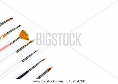 Tassels For Manicure And Pedicure  White Background.