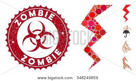 Mosaic Zigzag Strike Icon And Grunge Stamp Seal With Zombie Caption And Biohazard Symbol. Mosaic Vec