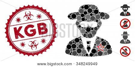 Collage Kgb Spy Icon And Distressed Stamp Seal With Kgb Caption And Biohazard Symbol. Mosaic Vector