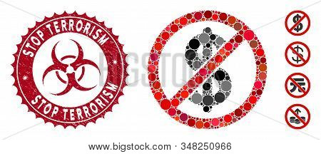 Mosaic Freemium Icon And Grunge Stamp Seal With Stop Terrorism Text And Biohazard Symbol. Mosaic Vec