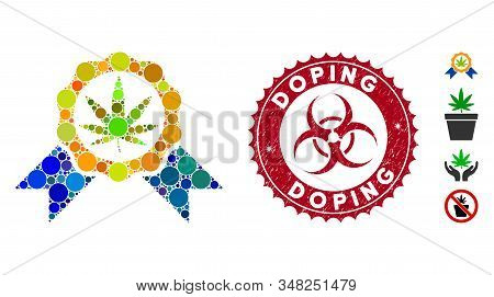 Mosaic Cannabis Legalize Icon And Grunge Stamp Watermark With Doping Text And Biohazard Symbol. Mosa