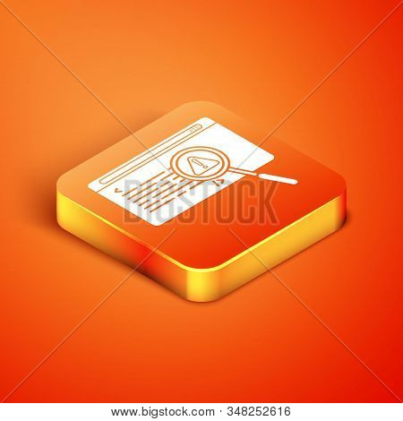 Isometric System Bug Concept Icon Isolated On Orange Background. Code Bug Concept. Bug In The System