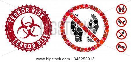 Mosaic No Applause Icon And Grunge Stamp Seal With Terror Risk Caption And Biohazard Symbol. Mosaic