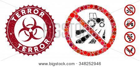 Mosaic No Agriculture Field Icon And Grunge Stamp Seal With Terror Caption And Biohazard Symbol. Mos
