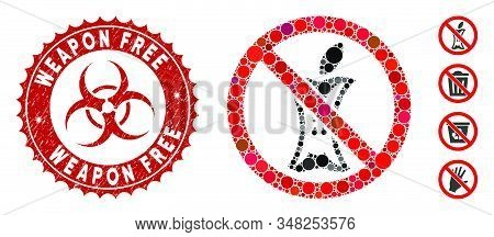 Mosaic Do Not Litter Icon And Corroded Stamp Seal With Weapon Free Text And Biohazard Symbol. Mosaic