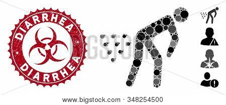 Mosaic Man Diarrhea Icon And Rubber Stamp Seal With Diarrhea Caption And Biohazard Symbol. Mosaic Ve